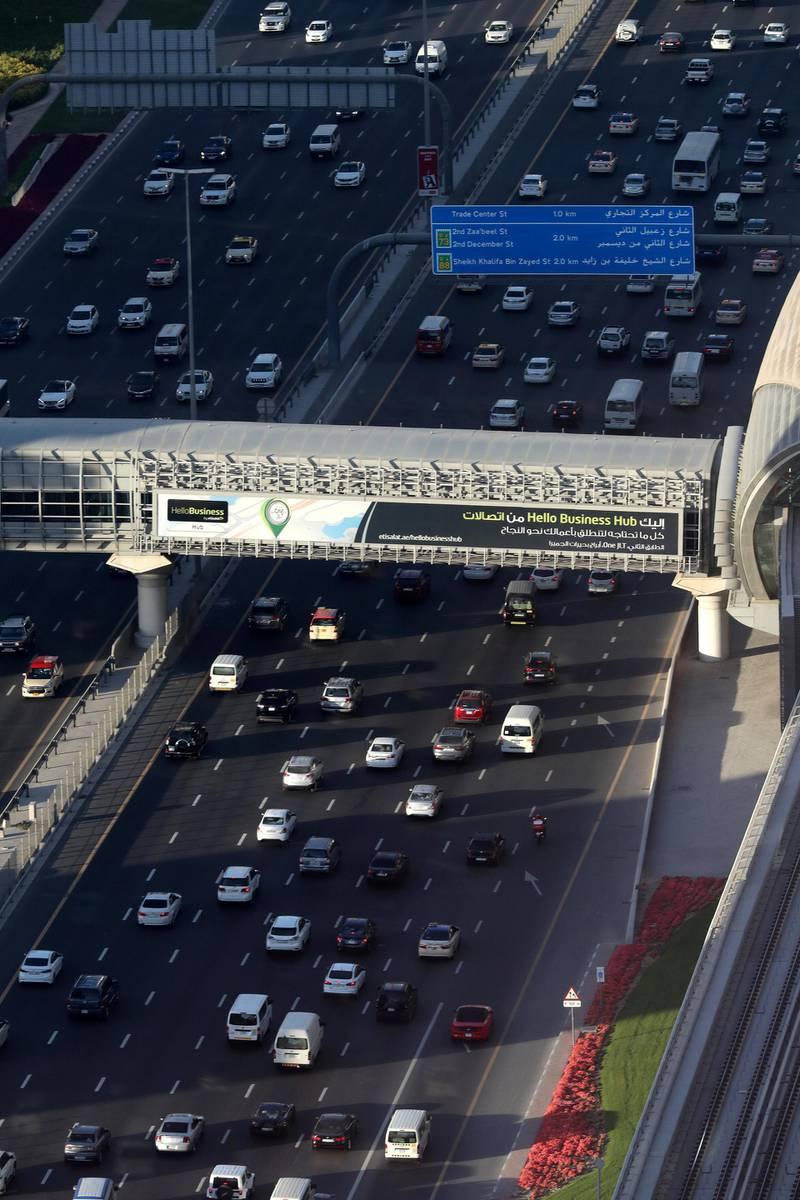 Dubai, United Arab Emirates - March 21st, 2018: Traffic in Downtown, Dubai. Wednesday, March 21st, 2018 in Downtown, Dubai. Chris Whiteoak / The National