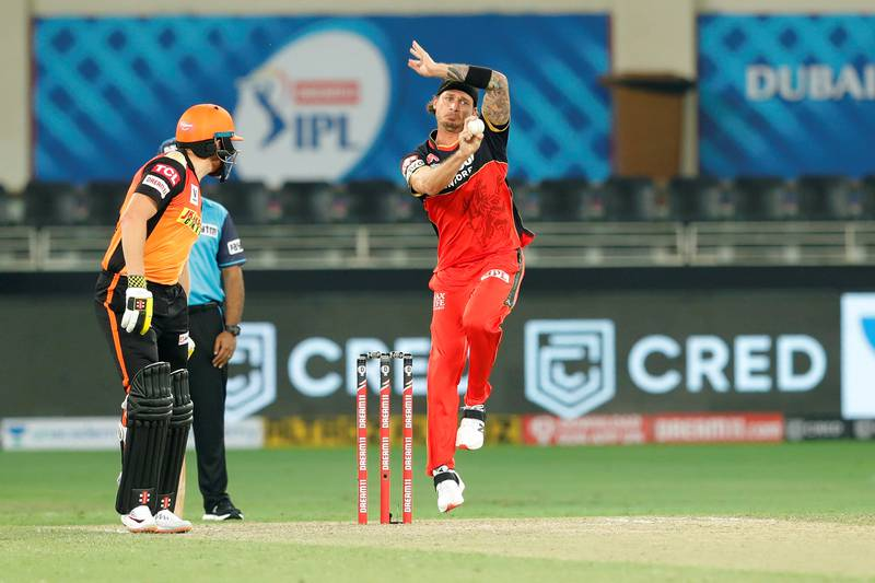 Dale Steyn of Royal Challengers Bangalore bowling during match 3 of season 13 Dream 11 Indian Premier League (IPL) between Sunrisers Hyderabad and Royal Challengers Bangalore held at the Dubai International Cricket Stadium, Dubai in the United Arab Emirates on the 21st September 2020.  Photo by: Saikat Das  / Sportzpics for BCCI