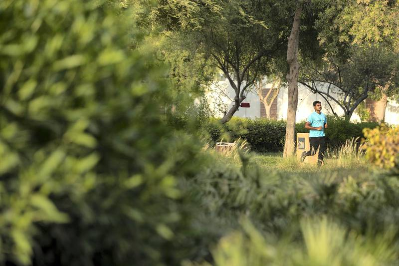 Abu Dhabi, United Arab Emirates, August 14, 2017:    A man jogs through Heritage Park across from the Corniche in Abu Dhabi on August 14, 2017.  Abu Dhabi municipality recently launched the Green Abu Dhabi initiative, a wide ranging campaign to care for and protect trees and green spaces throughout the city. Christopher Pike / The National  Reporter: Mina Aldroubi Section: News