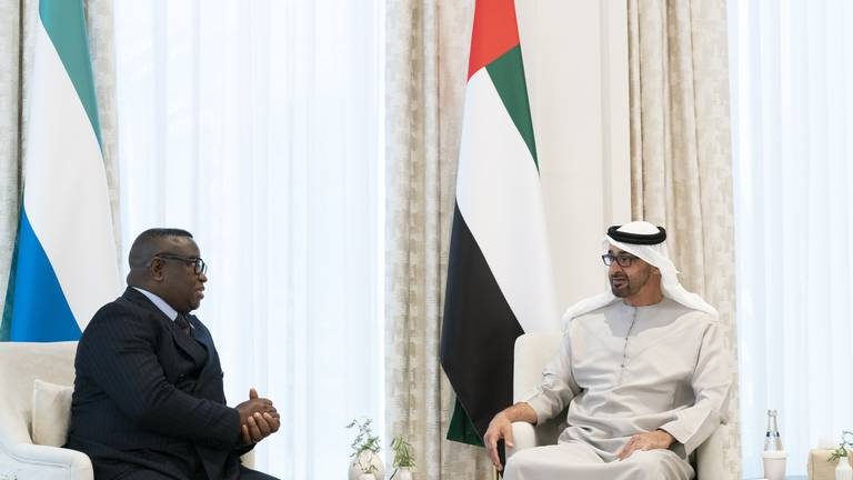 An image that illustrates this article Sheikh Mohamed bin Zayed meets president of Sierra Leone