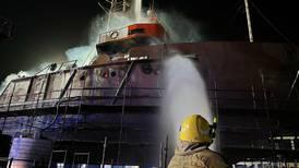 Crews battle dramatic fire on ship at Ras Al Khaimah port