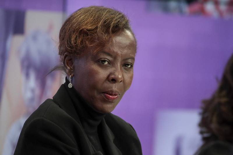 Louise Mushikiwabo, Rwanda's foreign minister, looks on during a panel session on the opening day of the World Economic Forum (WEF) in Davos, Switzerland, on Tuesday, Jan. 23, 2018. World leaders, influential executives, bankers and policy makers attend the 48th annual meeting of the World Economic Forum in Davos from Jan. 23 - 26. Photographer: Jason Alden/Bloomberg