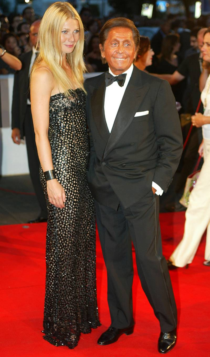 VENICE, ITALY - AUGUST 29: American actress Gwyneth Paltrow and fashion maker Valentino attend the opening ceremony of the 59th Venice Film Festival August 29, 2002 in Venice, Italy. The annual film festival, which runs for 10 days, is one of the oldest and most prestigious cinema events in Europe. It traditionally showcases non-Hollywood films.  (Photo by Pascal Le Segretain/Getty Images)