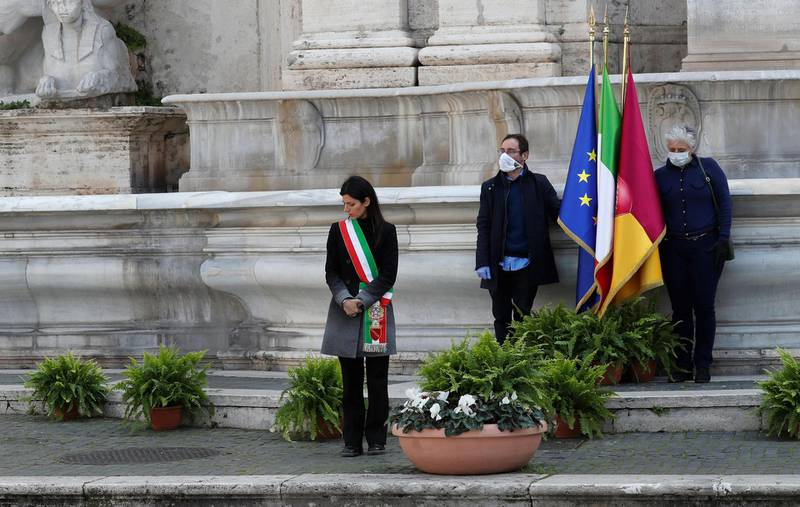 Mayor of Rome Virginia Raggi attends a memorial ceremony as mayors across Italy stand in silence to honour the country's dead due to coronavirus disease (COVID-19), in Rome, Italy, March 31, 2020. REUTERS/Remo Casilli
