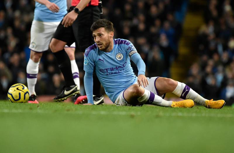 Manchester City's David Silva reacts during the English Premier League soccer match between Manchester City and West Ham at Etihad stadium in Manchester, England, Wednesday, Feb. 19, 2020. (AP Photo/Rui Vieira)
