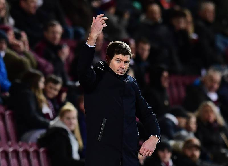 EDINBURGH, SCOTLAND - FEBRUARY 29: Steven Gerrard, Manager of Rangers on the touch line during the Scottish Cup Quarter Final match between Hearts and Rangers at Tynecastle Park on February 29, 2020 in Edinburgh, Scotland.(Photo by Mark Runnacles/Getty Images)