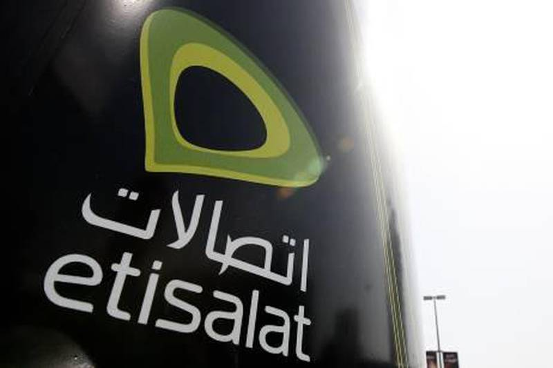 ABU DHABI, UNITED ARAB EMIRATES, July 03: Etisalat advertisement near the Hilton hotel in Abu Dhabi. (Pawan Singh / The National) For Stock