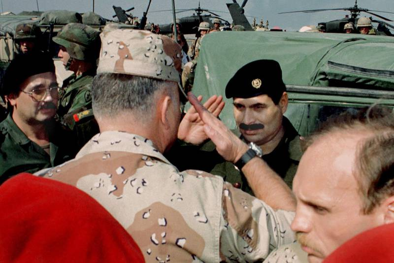A file photo dated March 3, 1991 of U.S. General Norman Schwarzkopf (L), Allied Gulf War Commander, saluting Lt-General Sultan Hasim Ahmed of Iraq (R) following talks to discuss terms of a ceasefire and surrender, at Safwan Air Base inside occupied Iraq. January 17, 2001 is the 10th anniversary of the commencement of the coalition's Desert Storm air and bombing campaign to free Kuwait from Iraqi occupation.  AC/CRB