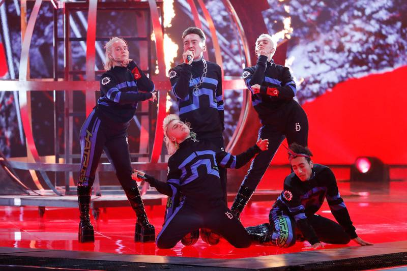 TEL AVIV, ISRAEL - MAY 17: Hatari, from Iceland, perform live on stage during the 64th annual Eurovision Song Contest held at Tel Aviv Fairgrounds on May 17, 2019 in Tel Aviv, Israel. (Photo by Michael Campanella/Getty Images)