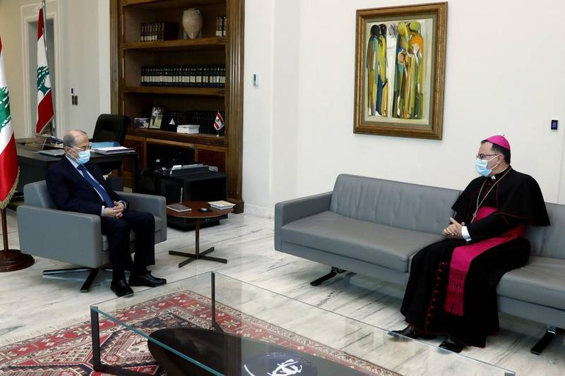 Lebanese President Michel Aoun received the papal ambassador to Lebanon, Mons. Joseph Spitry, who briefed him on the results of Pope Francis' visit to Iraq and his announcement that his next trip will be to Lebanon. Courtesy Lebanese Official Government