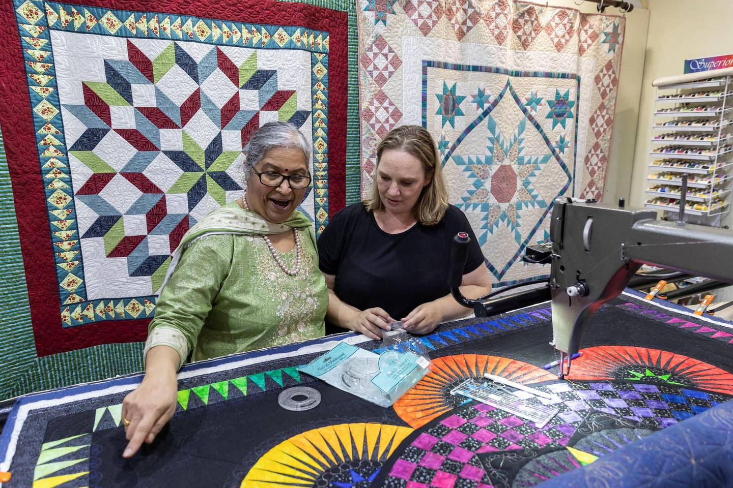 DUBAI, UNITED ARAB EMIRATES. 18 FEBRUARY 2020.  The hobby shop Classic Quilts in Jumeirah Plaza. Bronwyn Pontes and Mala Ramakrishnan. (Photo: Antonie Robertson/The National) Journalist: Janice Rodrigues. Section: Lifestyle.