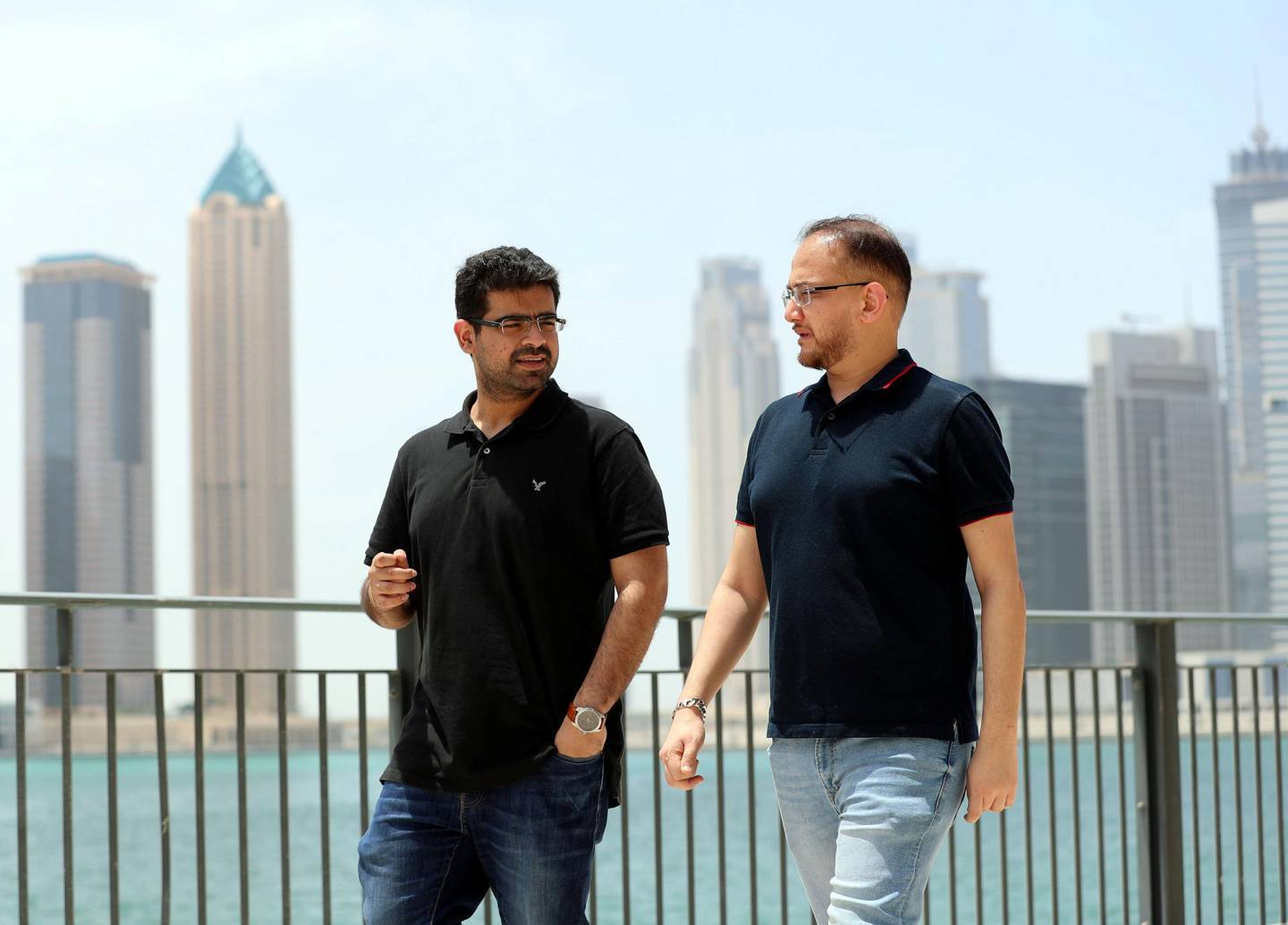 Monish Chandiramani (L) and Jatin Sharma, founders of start-up Yippee in Dubai on April 29th, 2021. Chris Whiteoak / The National.  Reporter: Alkesh Sharma for Business