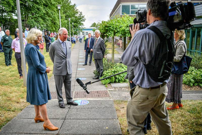 GLOUCESTER, ENGLAND - JUNE 16: Prince Charles, Prince of Wales and Camilla, Duchess of Cornwall conduct a socially distanced TV interview after meeting front line key workers who who have responded to the COVID-19 pandemic during a visit to Gloucestershire Royal Hospital on June 16, 2020 in Gloucester, England. (Photo by WPA Pool-Ben Birchall/Getty Images)