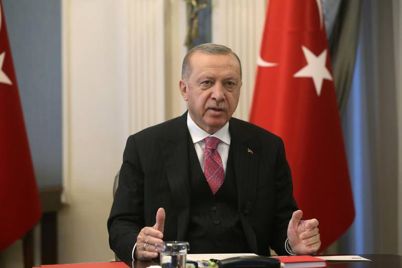 Turkish President Tayyip Erdogan speaks to members of his ruling AK Party (AKP) during a video conference call in Ankara, Turkey, July 1, 2020. Mustafa Oztartan/Turkish Presidential Press Office/Handout via REUTERS ATTENTION EDITORS - THIS PICTURE WAS PROVIDED BY A THIRD PARTY. NO RESALES. NO ARCHIVE