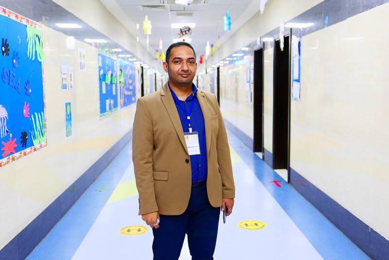Mohamed Salah, Team Leader, Covid 19 at the Al Shola American School in Ajman on June 8 , 2021. Pawan Singh / The National. Story by Salam