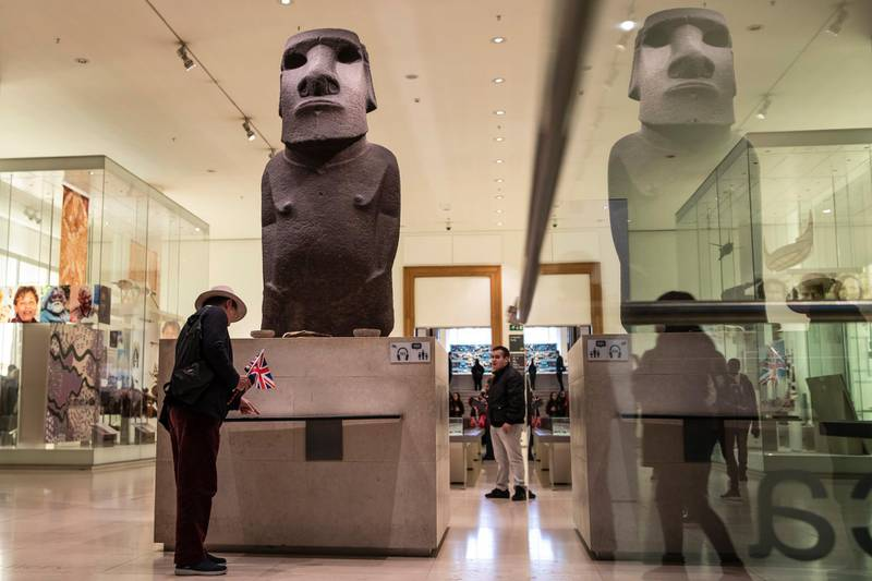 LONDON, ENGLAND - NOVEMBER 22: A basalt Easter Island Head figure, known as Hoa Hakananai'a, translated as 'lost or stolen friend' is displayed at the British Museum on November 22, 2018 in London, England. The Governor of the Easter Islands, Tarita Alarcón Rapu, has 'pleaded'  with the British Museum to return the piece, which was taken by the British members of the U.K.'s Royal Navy of the H.M.S. Topaze in 1868. (Photo by Dan Kitwood/Getty Images)