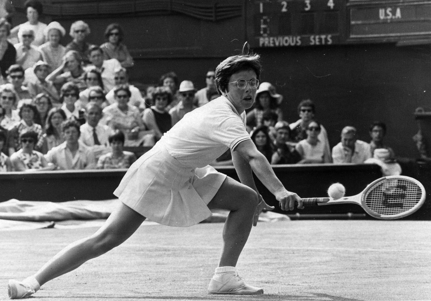 14th June 1970:  American tennis player Billie Jean King in action against Ann Jones of Great Britain during their Wightman Cup match at Wimbledon.  (Photo by Ted West/Central Press/Getty Images)