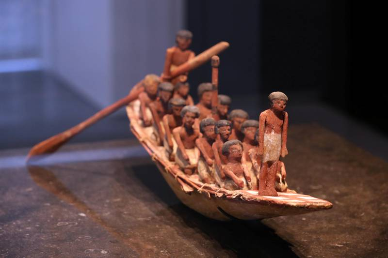 Abu Dhabi, United Arab Emirates - November 6th, 2017: Piece: Model funerary boat and crew at the Louvre. Louvre Media Day. Monday, November 6th, 2017 at Louvre, Abu Dhabi. Chris Whiteoak / The National