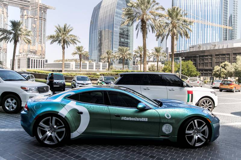 DUBAI, UNITED ARAB EMIRATES - SEP 24:Hybrid and electric cars, parked outside Armani Hotel, where, today, a press aconference was held announcing incentives to promote electric vehicles in Dubai.(Photo by Reem Mohammed/The National)Reporter: LeAnne GravesSection: NA