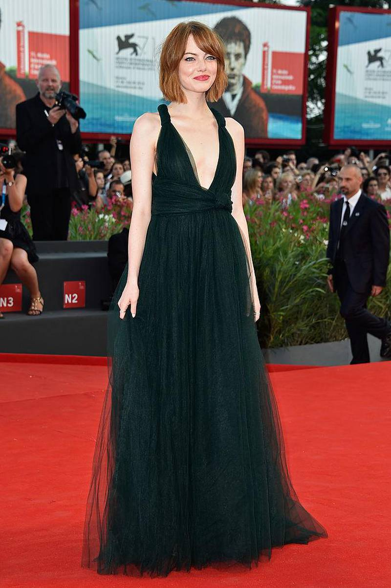 VENICE, ITALY - AUGUST 27:  Actress Emma Stone attends the Opening Ceremony and 'Birdman' premiere during the 71st Venice Film Festival on August 27, 2014 in Venice, Italy.  (Photo by Pascal Le Segretain/Getty Images)
