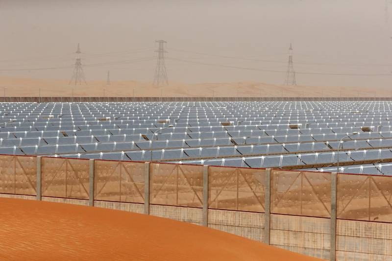 Abu Dhabi, United Arab Emirates, March 16, 2016:     General view of Shams1 solar power plant in the Western Region of Abu Dhabi south of Madinat Zayed on March 16, 2016. Christopher Pike / The National  Job ID: 61721 Reporter: LeAnne Graves Section: Business Keywords:       *** Local Caption ***  CP0316-bz-masdar09.JPG