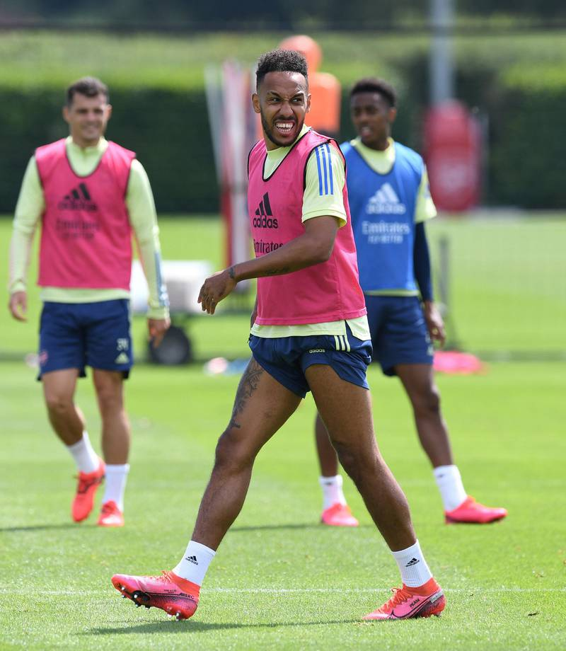 ST ALBANS, ENGLAND - JULY 29: Pierre-Emerick Aubameyang of Arsenal during a training session at London Colney on July 29, 2020 in St Albans, England. (Photo by Stuart MacFarlane/Arsenal FC via Getty Images)