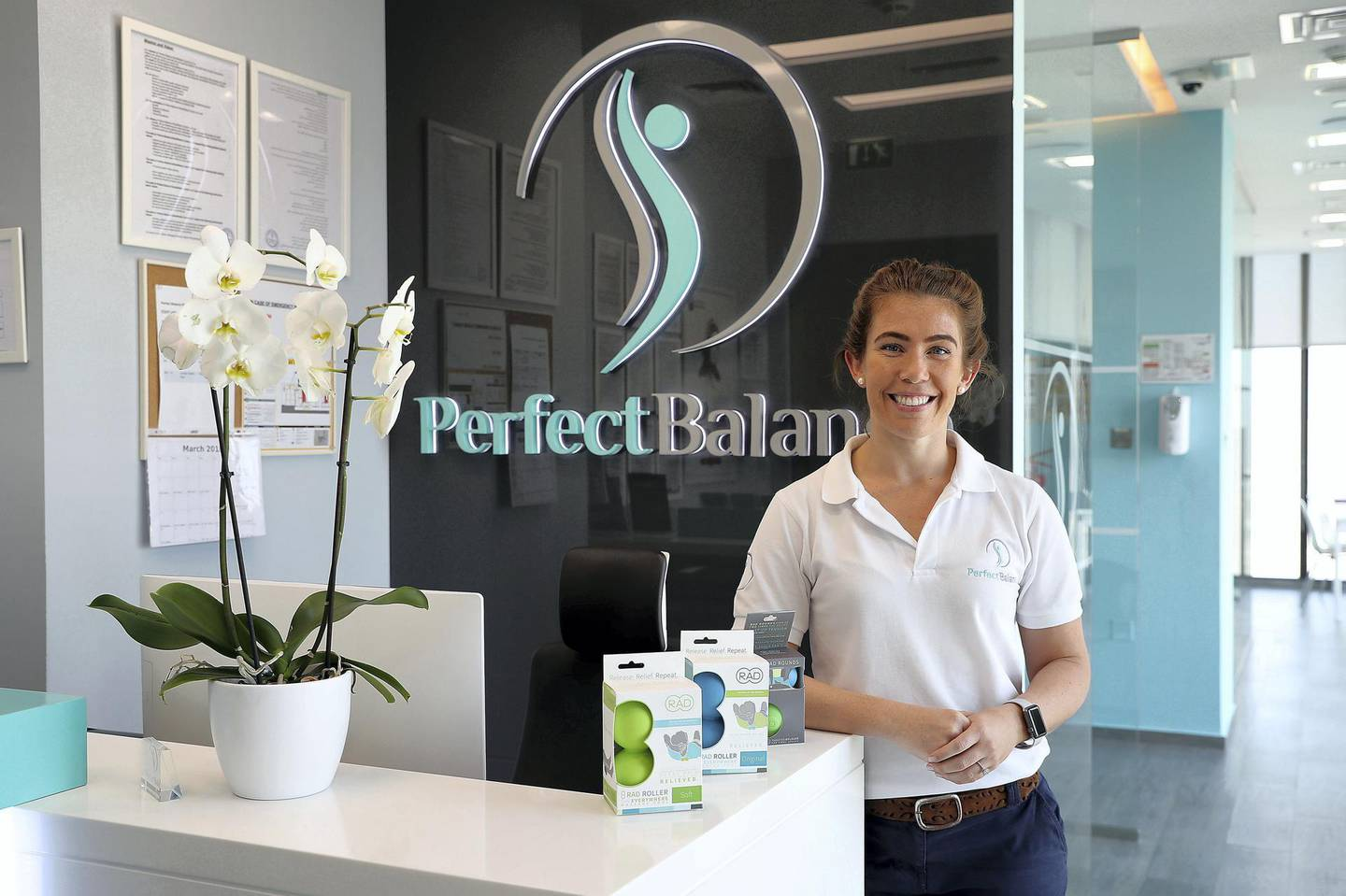 ABU DHABI , UNITED ARAB EMIRATES , MARCH 22  – 2018 :- Amy Gilbert , physio and owner of PerfectBalance at Tamouh Towers in Marina Square in Abu Dhabi. ( Pawan Singh / The National ) Story by Ann Marie