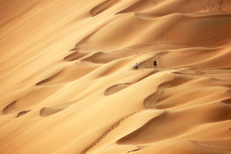 Sand dunes in the empty quarter area, Rub al Khali desert, Abu Dhabi, UAE. (Getty Images) *** Local Caption ***  na19ju-reefer-dunes.jpg
