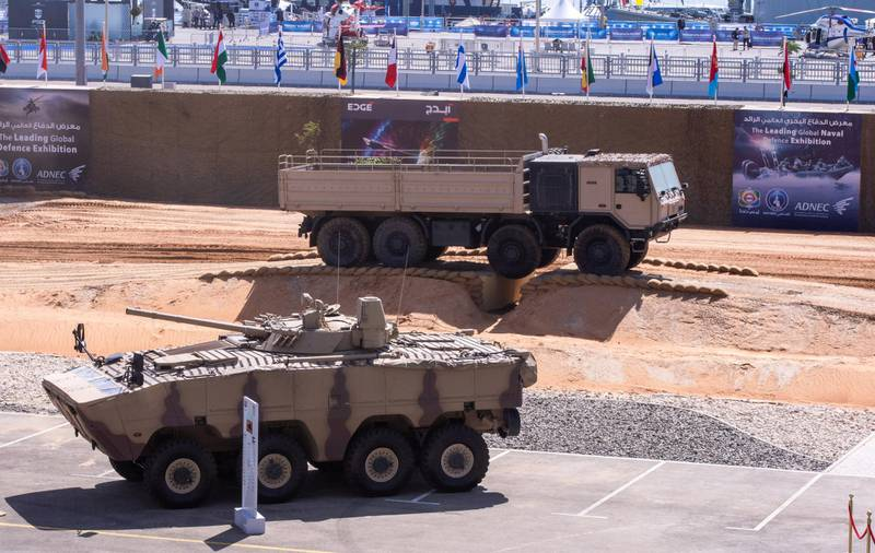 Abu Dhabi, United Arab Emirates, February 23, 2021.  Idex 2021 Day 3.  Heavy vehicle demonstration at the grandstand area.Victor Besa / The NationalSection:  NAReporter:
