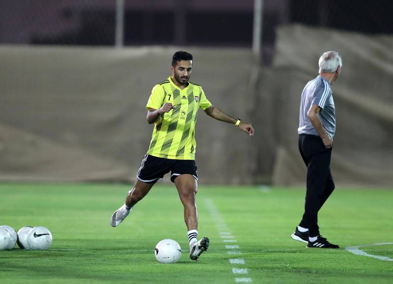 UAE's Ali Mabkhout during training before the game between the UAE and Vietnam in the World cup qualifiers at the Zabeel Stadium, Dubai on June 14th, 2021. Chris Whiteoak / The National.  Reporter: John McAuley for Sport