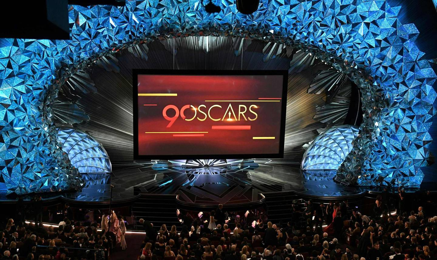 (FILES) In this file photo taken on March 04, 2018 A general view shows the stage during the 90th Annual Academy Awards show in Hollywood, California. The 93rd Oscars have been postponed by eight weeks to April 25 after the coronavirus pandemic shuttered movie theaters and wreaked havoc on Hollywood's release calendar, the Academy said June 15, 2020. / AFP / Mark RALSTON