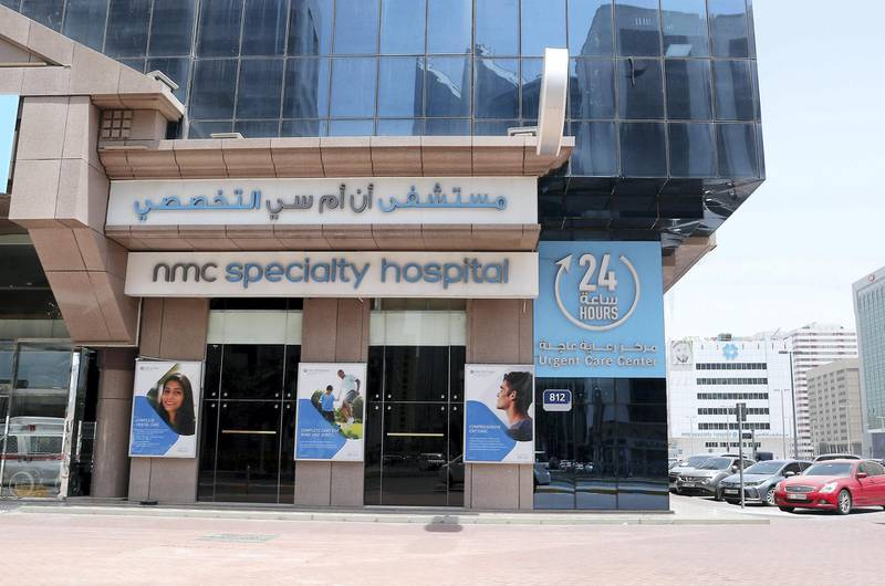 ABU DHABI, UNITED ARAB EMIRATES , May 31 – 2020 :- Outside view of the NMC specialty hospital on Zayed the first street in Abu Dhabi. (Pawan Singh / The National) For News/Online/Stock