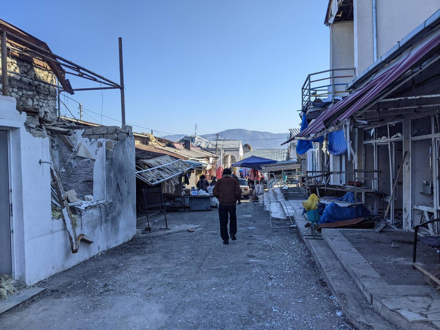 Damage to the Stepanakert market. Neil Hauer for The National