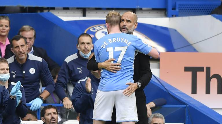 An image that illustrates this article Guardiola breaks City win record after victory over Chelsea