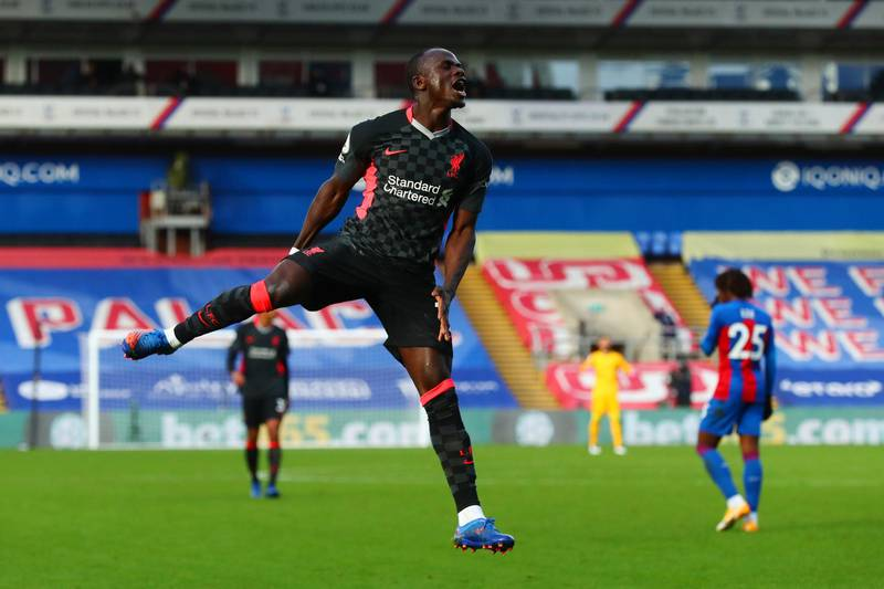 LONDON, ENGLAND - DECEMBER 19:  Sadio Mane of Liverpool celebrates after scoring their sides second goal during the Premier League match between Crystal Palace and Liverpool at Selhurst Park on December 19, 2020 in London, England. The match will be played without fans, behind closed doors as a Covid-19 precaution. (Photo by Clive Rose/Getty Images)