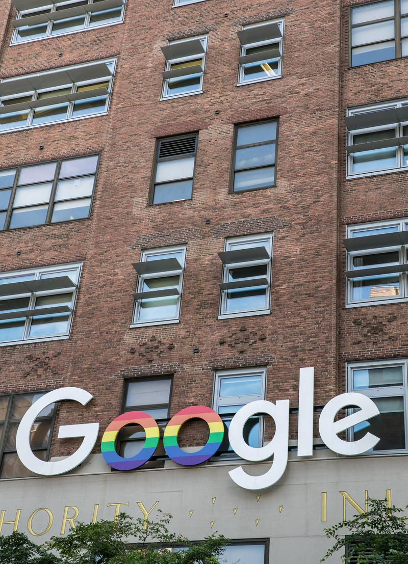 NEW YORK, NY - JUNE 9:  The exterior of the Google offices, located on 16th Street at 9th Avenue in the Meatpacking District, is viewed on June 9, 2017 in New York City.  With a full schedule of conventions and major sporting events taking place around the island of Manhattan each week, millions of global visitors will converge on New York City this year. (Photo by George Rose/Getty Images) *** Local Caption ***  bz27ju-google-office.jpg
