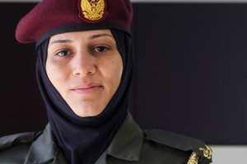 March 8, 2010 - Dubai, UAE -  Portrait of Salma al Kaabi before she and other police officers recieve awards at the Police General Headquarters, HR Depatment (Nicole Hill / The National)
