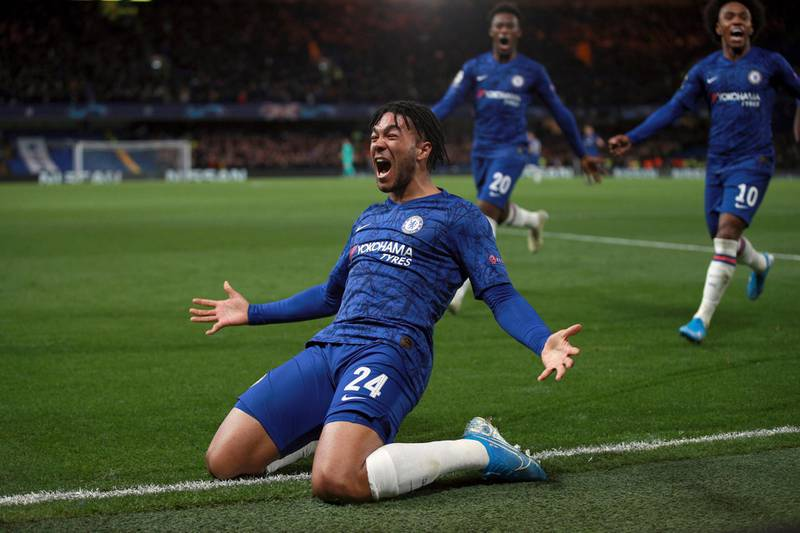 Chelsea's Reece James celebrates after scoring his side's fourth goal during the Champions League, group H, soccer match between Chelsea and Ajax, at Stamford Bridge in London, Tuesday, Nov. 5, 2019. (AP Photo/Ian Walton)