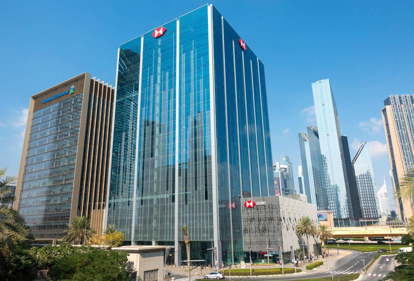 R9FTF2 Office buildings at Emaar Square business district in Downtown Dubai, United Arab Emirates