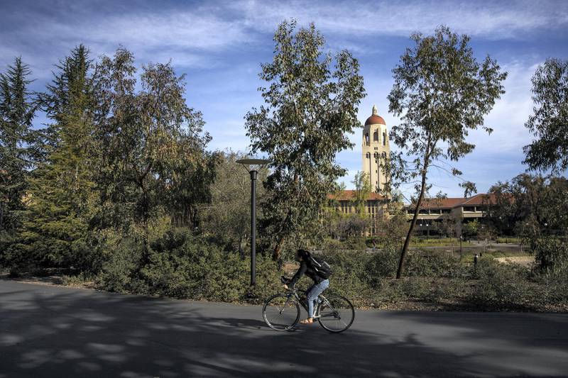STANFORD, CA - MARCH 09: Hoover Tower looms during a quiet morning at Stanford University on March 9, 2020 in Stanford, California. Stanford University announced that classes will be held online for the remainder of the winter quarter after a staff member working in a clinic tested positive for the Coronavirus.   Philip Pacheco/Getty Images/AFP