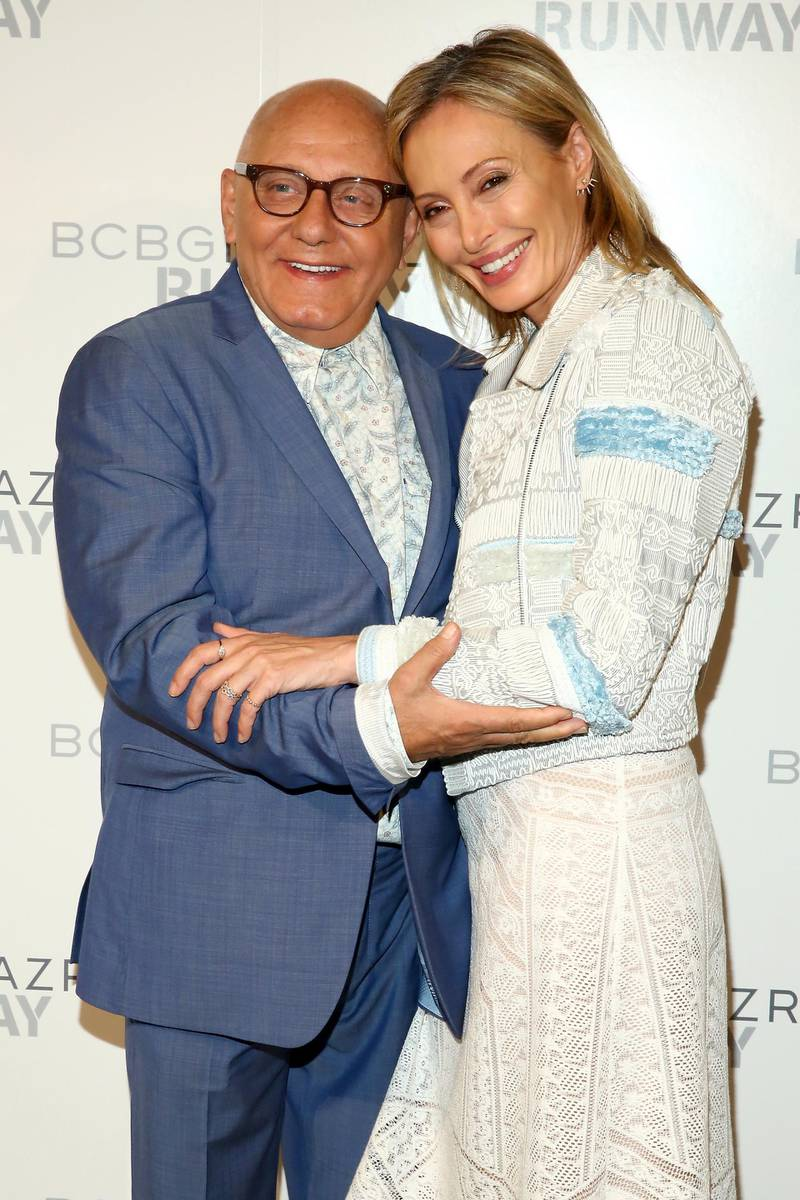 NEW YORK, NY - SEPTEMBER 10:  Designers Max Azria and Lubov Azria pose backstage at the BCBGMAXAZRIA fashion show during Spring 2016 New York Fashion Week: The Shows at The Arc, Skylight at Moynihan Station on September 10, 2015 in New York City.  (Photo by Astrid Stawiarz/Getty Images for NYFW: The Shows)