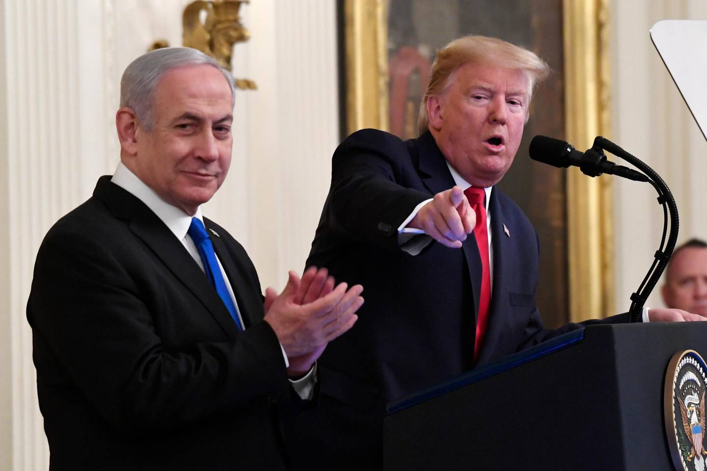 FILE - In this Jan. 28, 2020, file photo, President Donald Trump speaks during an event with Israeli Prime Minister Benjamin Netanyahu in the East Room of the White House in Washington. (AP Photo/Susan Walsh, File)