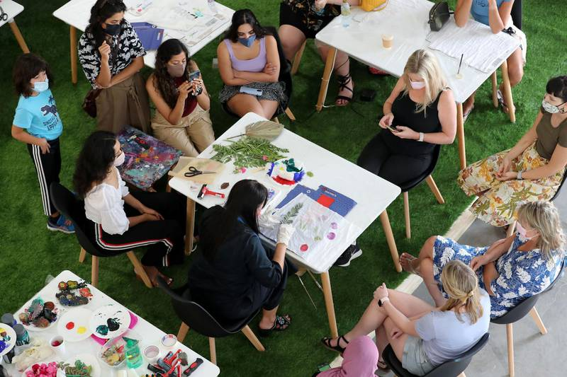 Instructor Dijana sustainable printing on scarfs at Mind, Pody & Soul, Alserkal Avenue, Dubai on June 19th, 2021. Chris Whiteoak / The National.  Reporter: N/A for News
