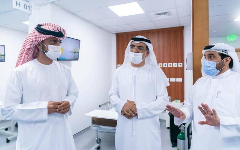 Sheikh Ammar bin Humaid Al-Nuaimi, Crown Prince of Ajman, visits the new field hospital. WAM