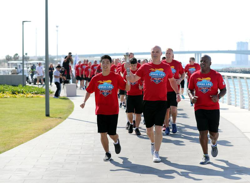 Abu Dhabi, United Arab Emirates - March 13, 2019: The arrival of Special Olympic torch team at Louvre Abu Dhabi. Wednesday the 13th of March 2019 at Louvre, Abu Dhabi. Chris Whiteoak / The National