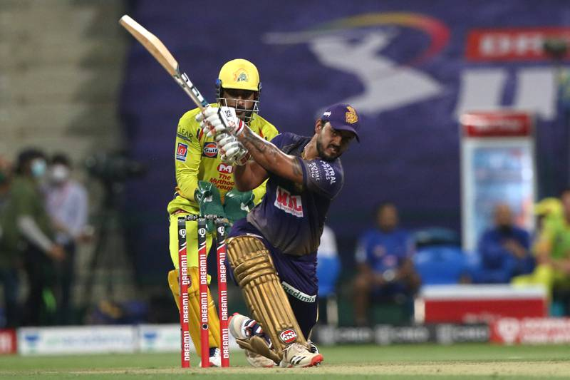 Nitish Rana of Kolkata Knight Riders plays a shot during match 21 of season 13 of the Dream 11 Indian Premier League (IPL) between the Kolkata Knight Riders and the Chennai Super Kings at the Sheikh Zayed Stadium, Abu Dhabi  in the United Arab Emirates on the 7th October 2020.  Photo by: Pankaj Nangia  / Sportzpics for BCCI