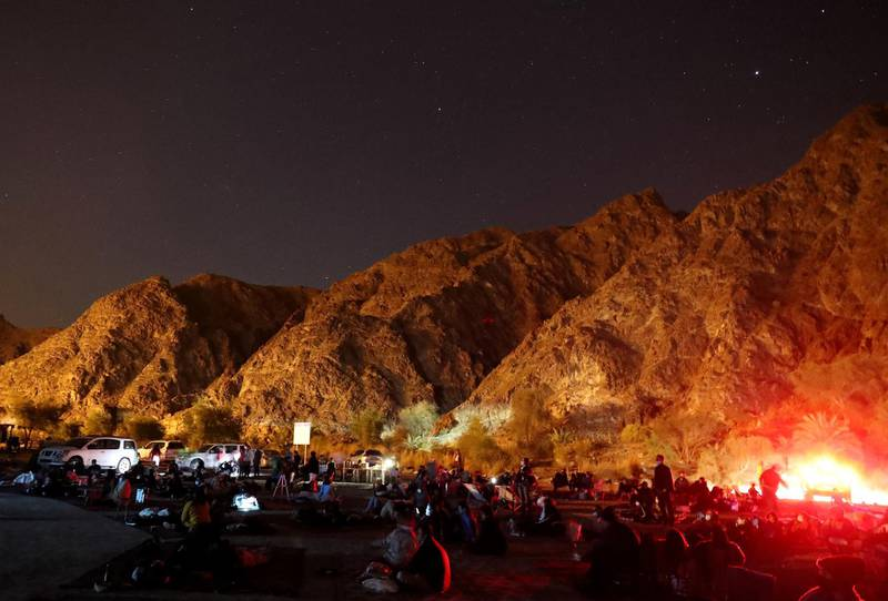 Ras al Khaimah, United Arab Emirates - December 13, 2020: News. The Geminid meteor shower at an event put on by the Dubai Astronomy Group at Wadi Shawkah in Ras al Khaimah. Sunday, December 13th, 2020 in Ras al Khaimah. Chris Whiteoak / The National