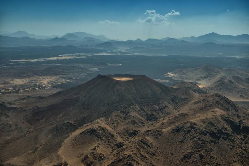 The Harrat Lunayyir volcano and lava field provides a stunning setting for outdoor and wellness activities. Courtesy The Red Sea Development Company