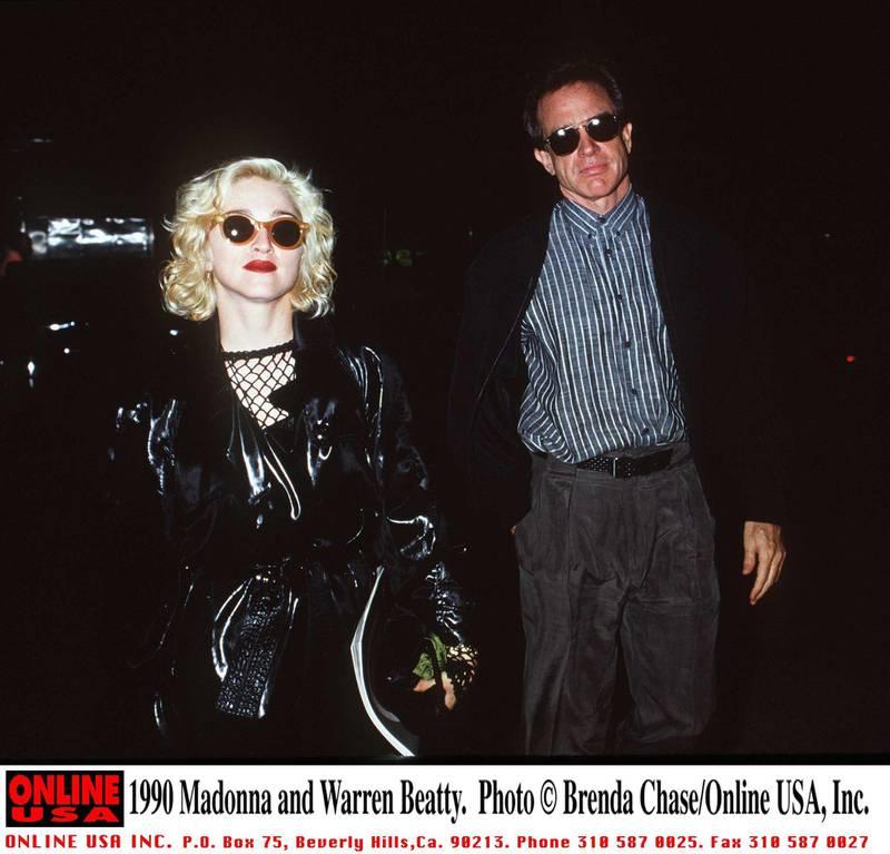 1990 Madonna and Warren Beatty.