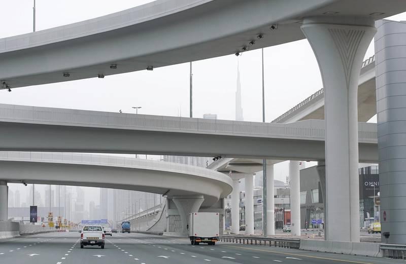 Dubai, United Arab Emirates, April 12, 2020.  Sunday morning overcast and slightly foggy skies on Sheikh Zayed Road.Victor Besa / The NationalSection:  NAReporter: